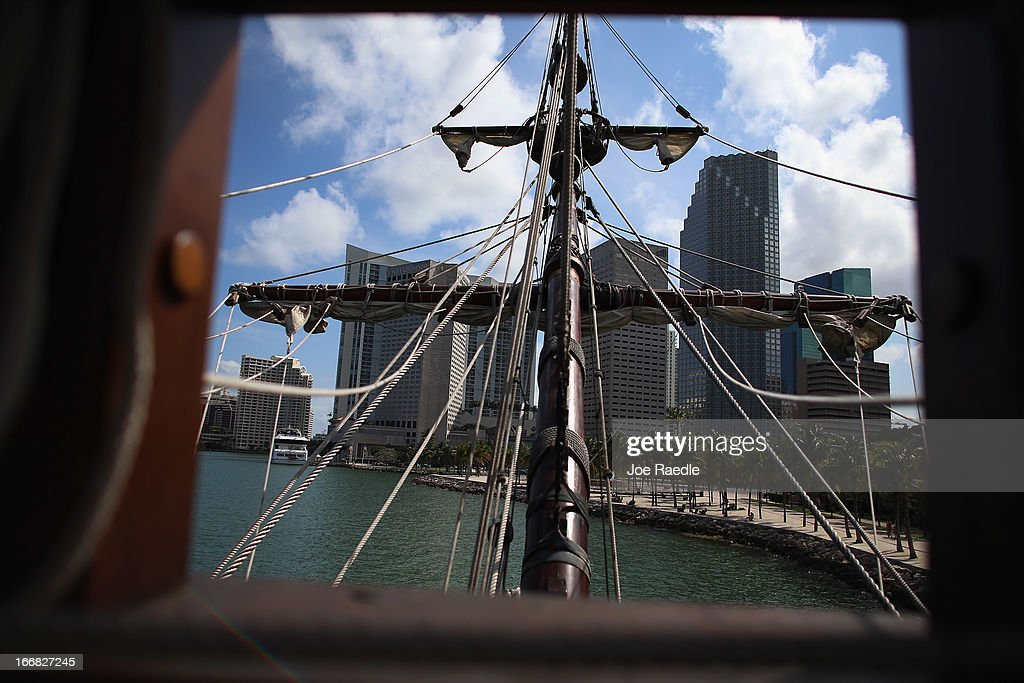 The masts of El Galeón on the replica of a 16th century galleon during Florida's commemoration of the 500th anniversary of Spanish explorer Juan Ponce de Leon's arrival on the shores of Florida on April 17, 2013 in Miami, Florida. The boat will remain in Miami until April 28, after which it continues North along Florida's east coast and stops along the way in Fort Lauderdale, Cape Canaveral, and St. Augustine.
