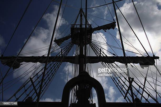 The masts of El Galeón on the replica of a 16th century galleon during Florida's commemoration of the 500th anniversary of Spanish explorer Juan...