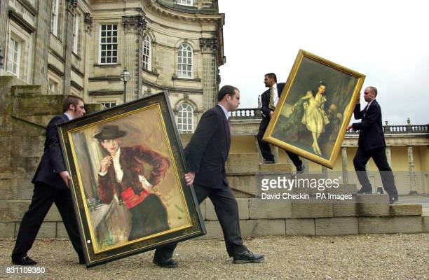 The Matador by Francis Campbell Boileau Cadell and a rare portrait entitled Miss Margaret Macfarlane by Edward Arthur Walton being taken by handlers...