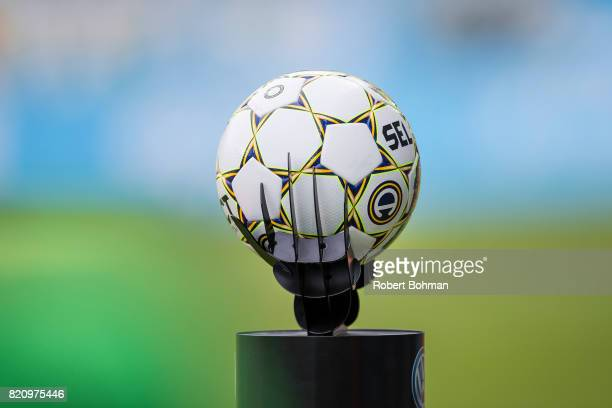 The match ball ahead of the Allsvenskan match between Malmo FF and Jonkopings Sodra IF at Swedbank Stadion on July 22 2017 in Malmo Sweden