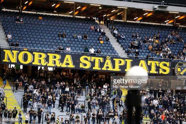 The match ball and fans of AIK during the Allsvenskan match between AIK and Athletic FC Eskilstura at Friends arena on August 13 2017 in Solna Sweden
