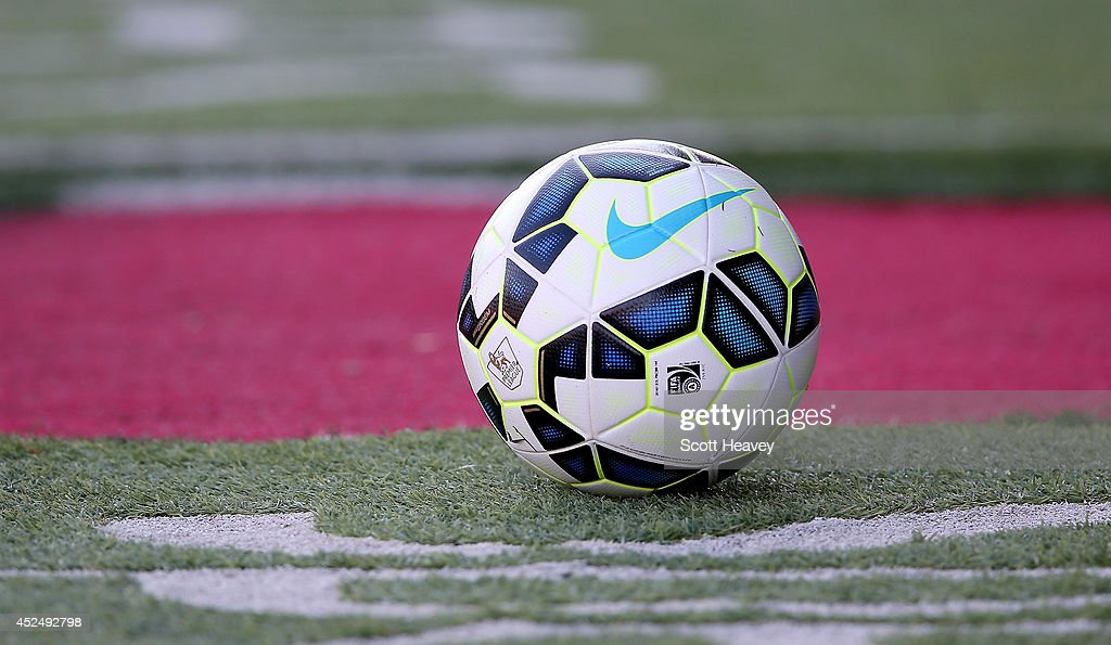 The match ball during the Pre Season Friendly between Swindon Town and Southampton on July 21 2014 in Swindon England