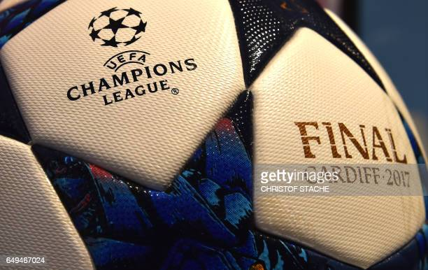 The match ball for the football Champions League final 2017 in Cardiff produced by the German sportswear maker Adidas is on display in the company...