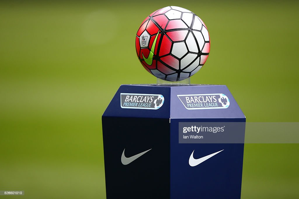 The match ball is displayed prior to the Barclays Premier League match between West Bromwich Albion and West Ham United at The Hawthorns on April 30, 2016 in West Bromwich, England.