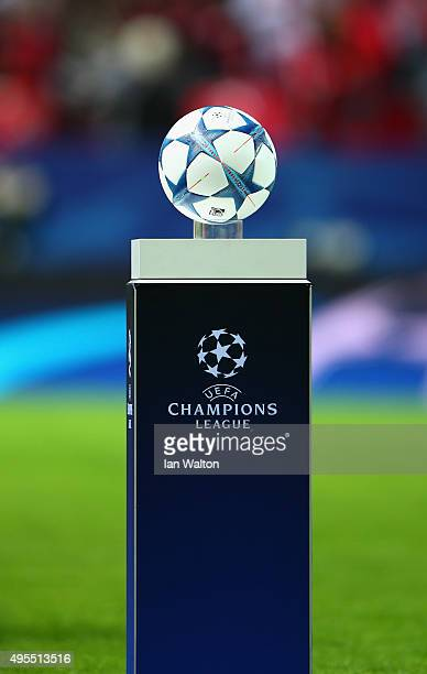 The match ball is displayed prior to the UEFA Champions League Group D match between Sevilla FC and Manchester City FC at Estadio Ramon Sanchez...