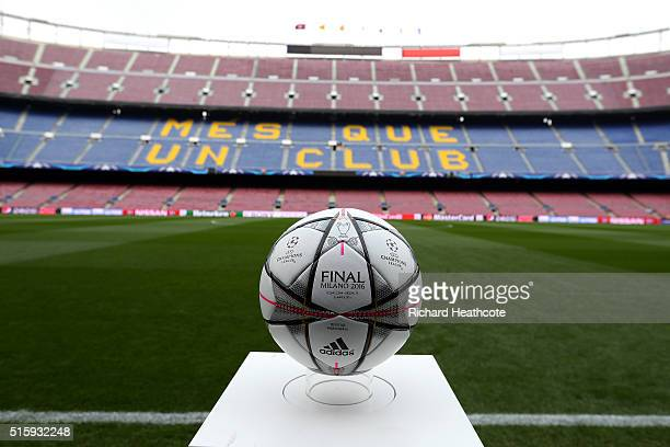 The match ball is displayed prior top kickoff during the UEFA Champions League round of 16 second Leg match between FC Barcelona and Arsenal FC at...