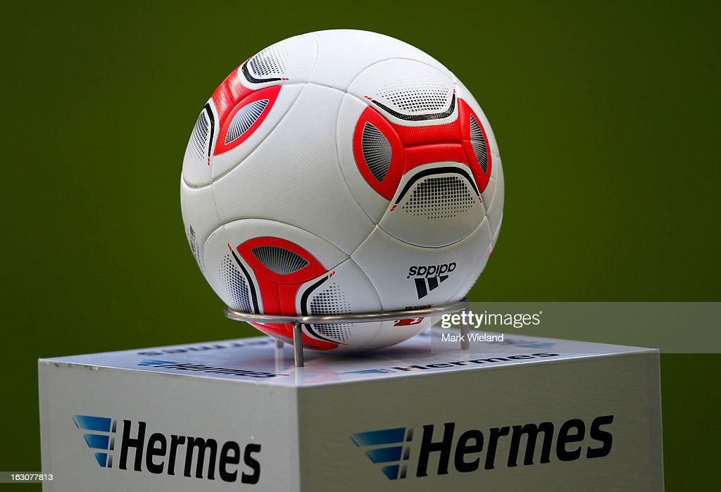 The match ball is pictured before the Second Bundesliga League match between 1860 Muenchen and FC Ingostadt at Allianz Arena on March 3, 2013 in Munich, Germany.
