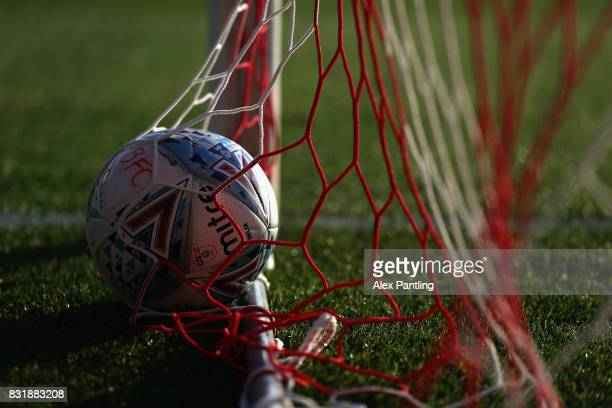 The match ball is pictured in the back of the net prior to the Sky Bet Championship match between Brentford and Bristol City at Griffin Park on...