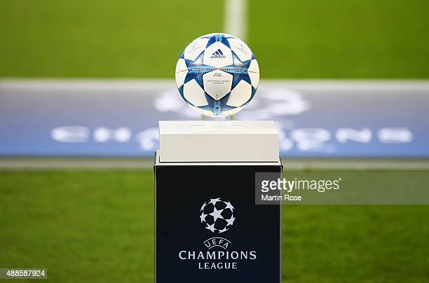The match ball is pictured on a plinth prior to the UEFA Champions League Group E match between Bayer 04 Leverkusen and FC BATE Borisov at BayArena...
