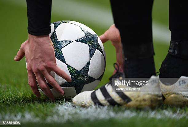 The match ball is placed for a corner kick during the UEFA Champions League match between Manchester City FC and Celtic FC at Etihad Stadium on...