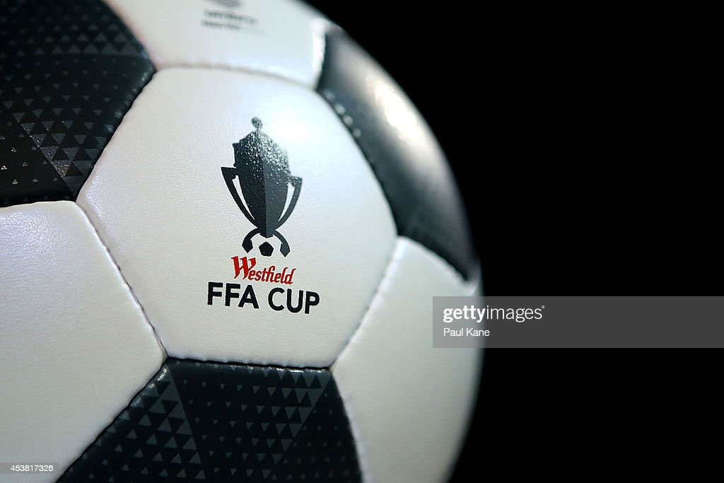 The match ball is seen before the FFA Cup match between the Stirling Lions and the Brisbane Roar at Western Australia Athletics Stadium on August 19, 2014 in Perth, Australia.