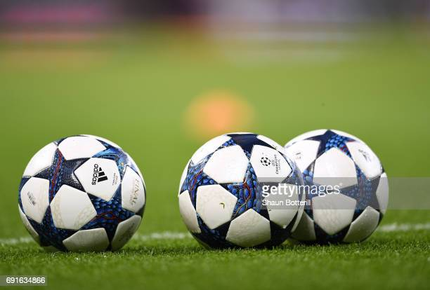 The match ball is seen during a Real Madrid training session prior to the UEFA Champions League Final between Juventus and Real Madrid at the...