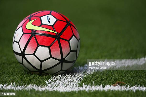 The match ball is seen during the Barclays Premier League match between Leicester City and Sunderland at The King Power Stadium on August 8 2015 in...