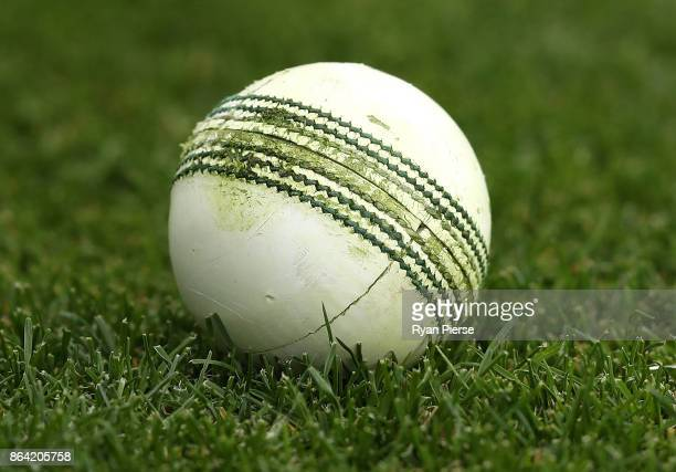 The match ball is seen during the JLT One Day Cup Final match between Western Australia and South Australia at Blundstone Arena on October 21 2017 in...