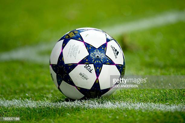 The match ball is seen on the corner mark during the UEFA Champions league first leg quarter final football match between Bayern Munich and Juventus...