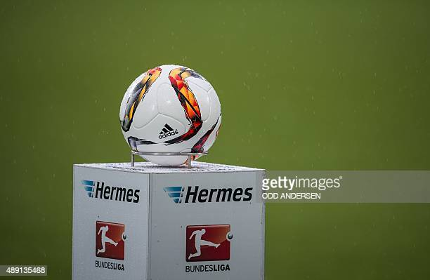 The match ball is seen on the pitch prior to the German first division Bundesliga football match VfL Wolfsburg vs Hertha BSC Berlin in Wolfsburg...