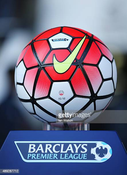 The match ball is seen prior to the Barclays Premier League match between Tottenham Hotspur and Crystal Palace at White Hart Lane on September 20...