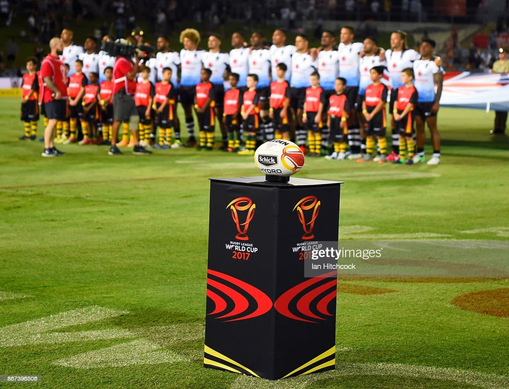 The match ball is seen sitting on a stand before the start of the 2017 Rugby League World Cup match between Fiji and the United States on October 28, 2017 in Townsville, Australia.