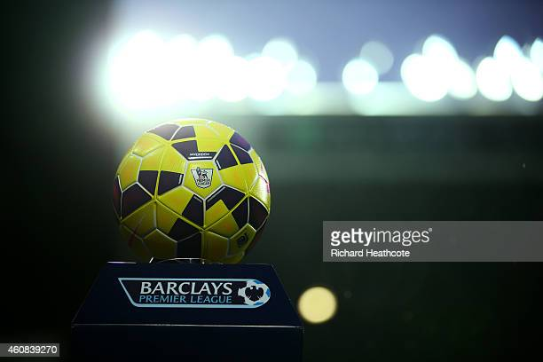 The match ball rests on a plinth before the Barclays Premier League match between West Bromwich Albion and Manchester City at The Hawthorns on...