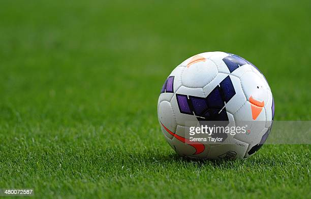 The match ball sits on the pitch during the Barclays Premier League match between Newcastle United and Crystal Palace at St James' Park on March 22...