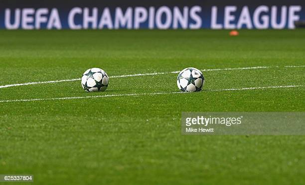 The match balls are seen on the pitch prior to kick off during the UEFA Champions League Group C match between Celtic FC and FC Barcelona at Celtic...