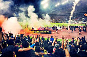 The match between Malaysia and Saudi Arabia is abandoned after flares were thrown onto the pitch with Saudi Arabia leading 21 during the 2018 Russia...