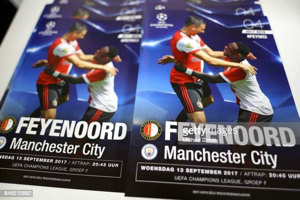 The match day programme is seen for sale prior to the UEFA Champions League group F match between Feyenoord and Manchester City at Feijenoord Stadion...