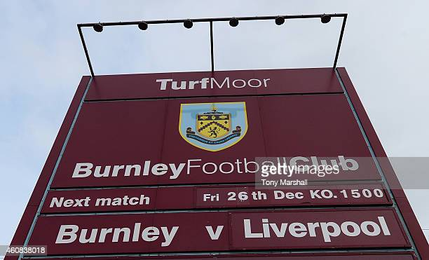 The match fixture is displayed prior to the Barclays Premier League match between Burnley and Liverpool at Turf Moor on December 26 2014 in Burnley...