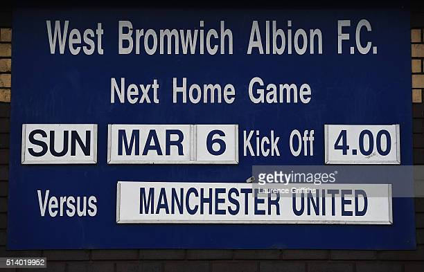 The match fixture is displayed prior to the Barclays Premier League match between West Bromwich Albion and Manchester United at The Hawthorns on...
