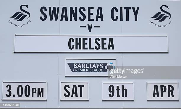 The match fixture is displayed prior to the Barclays Premier League match between Swansea City and Chelsea at the Liberty Stadium on April 9 2016 in...