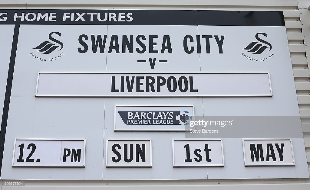 The match fixture is displayed prior to the Barclays Premier League match between Swansea City and Liverpool at The Liberty Stadium on May 1, 2016 in Swansea, Wales.