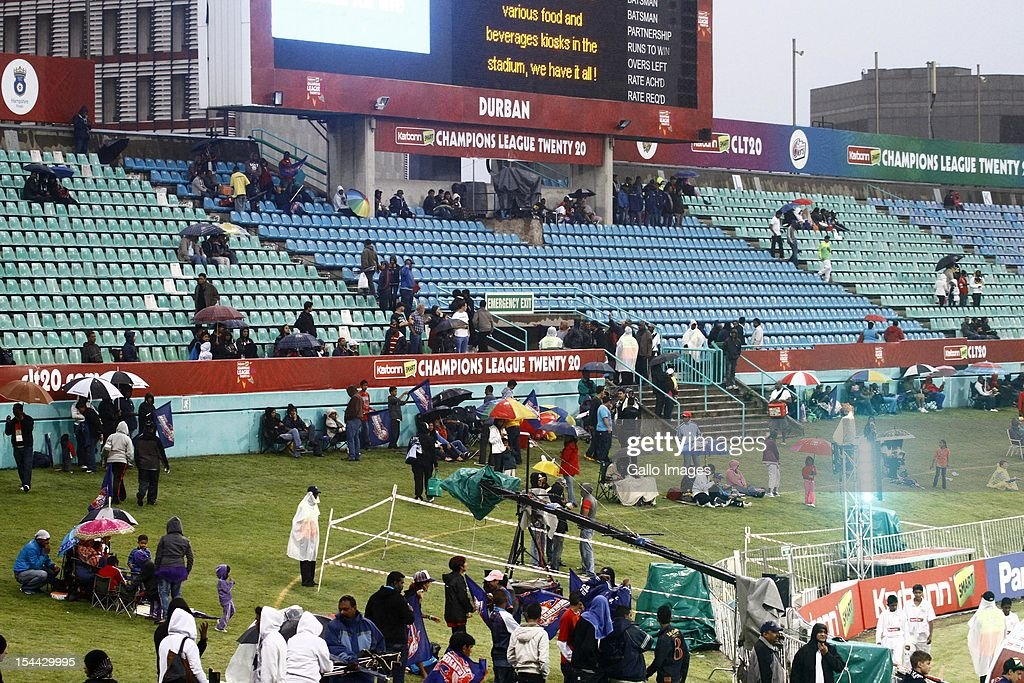 The match is abandoned due to bad weather during the CLT20 match between Auckland Aces and Delhi Daredevils from Sahara Stadium Kingsmead on October 19, 2012 in Durban, South Africa.