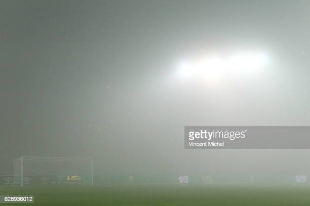 The match is postponed because of the fog during the ligue 1 match between FC Nantes and SM Caen at Stade de la Beaujoire on December 10 2016 in...