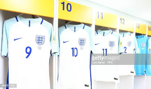 The match jerseys of England are seen in the dressing room prior to the FIFA U20 World Cup Korea Republic 2017 Final match between Venezuela and...