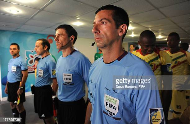 The match officials line up in the tunnel before the FIFA U20 World Cup Group D match between Mali and Mexico at Kamil Ocak Stadium on June 28 2013...