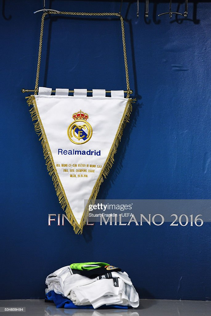 The match penant of Real Madrid is seen in the dressing room prior the UEFA Champions League Final match between Real Madrid and Club Atletico de Madrid at Stadio Giuseppe Meazza on May 28, 2016 in Milan, Italy.