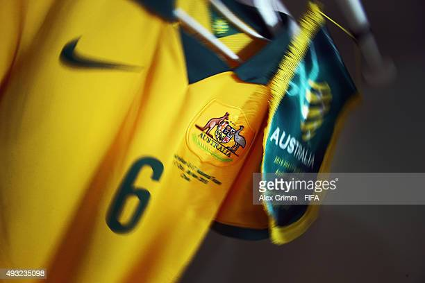 The match pendant and the kit of team captain Joe Caletti are seen in the Australia dressing room prior to the FIFA U17 World Cup Chile 2015 Group C...