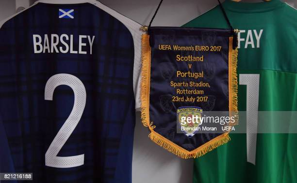 The match pennant and jersey of captain Gemma Fay and Vaila Barsley in the Scotland dressingroom prior to the UEFA Women's EURO 2017 Group D match...