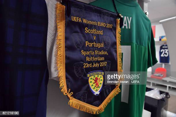 The match pennant and jersey of captain Gemma Fay in the Scotland dressingroom prior to the UEFA Women's EURO 2017 Group D match between Scotland and...