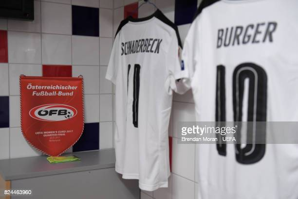 The match pennant and jersey of captain Nina Burger and Viktoria Schnaderbeck in the Austria dressingroom prior to the UEFA Women's EURO 2017...