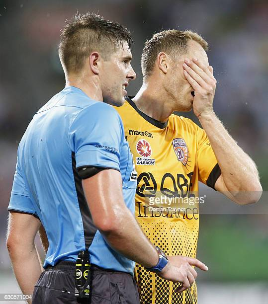 The match Referee speaks with Rostyn Griffiths of Perth Glory during the round 12 ALeague match between Melbourne City and Perth Glory at AAMI Park...