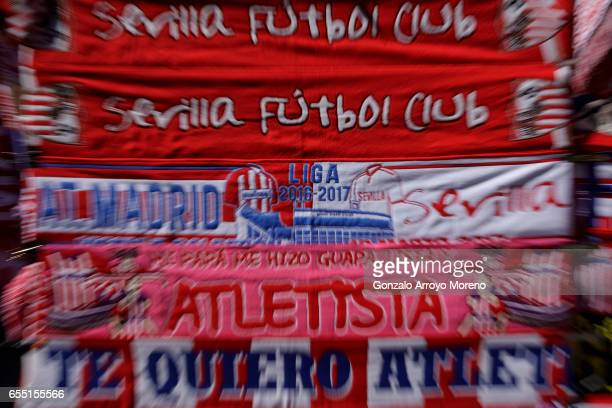 The Match' scarf is displayed at a merchandaising stall before the La Liga match between Club Atletico de Madrid and Sevilla FC at Vicente Calderon...