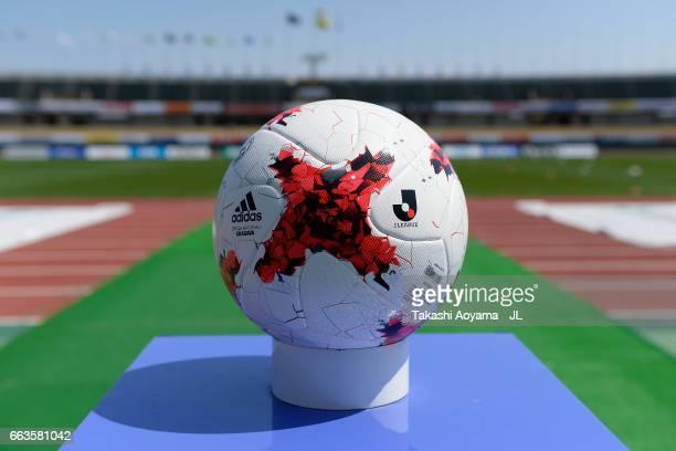 The matchball is displayed prior to the JLeague J3 match between Kataller Toyama and Azul Claro Numazu at Toyama Stadium on April 2 2017 in Toyama...