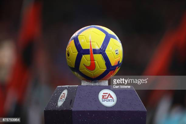 The matchball is displayed prior to the Premier League match between AFC Bournemouth and Huddersfield Town at Vitality Stadium on November 18 2017 in...