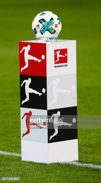 The matchball is pictured before the Bundesliga match between Hannover 96 and Hamburger SV at HDIArena on September 15 2017 in Hanover Germany