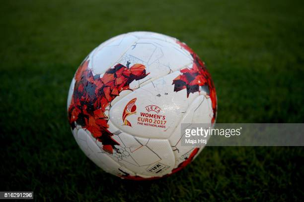 The matchball is pictured before the Group B match between Germany and Sweden during the UEFA Women's Euro 2017 at Rat Verlegh Stadion on July 17...