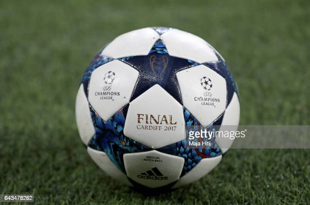 The matchball is pictured before the UEFA Champions League Round of 16 first leg match between Bayer Leverkusen and Club Atletico de Madrid at...