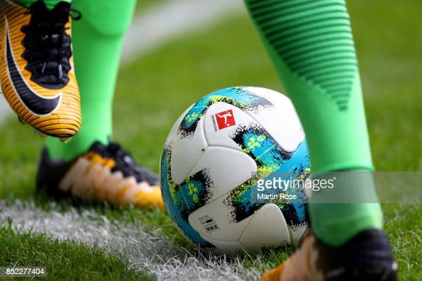 The matchball is pictured during the Bundesliga match between SV Werder Bremen and SportClub Freiburg at Weserstadion on September 23 2017 in Bremen...