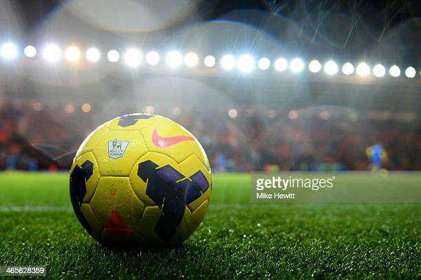 The matchball is seen ahead of the Barclays Premier League match between Southampton and Arsenal at St Mary's Stadium on January 28 2014 in...