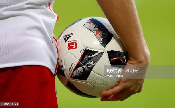 The matchball is seen during the Bundesliga match between Hamburger SV and Borussia Moenchengladbach at Volksparkstadion on March 12 2017 in Hamburg...